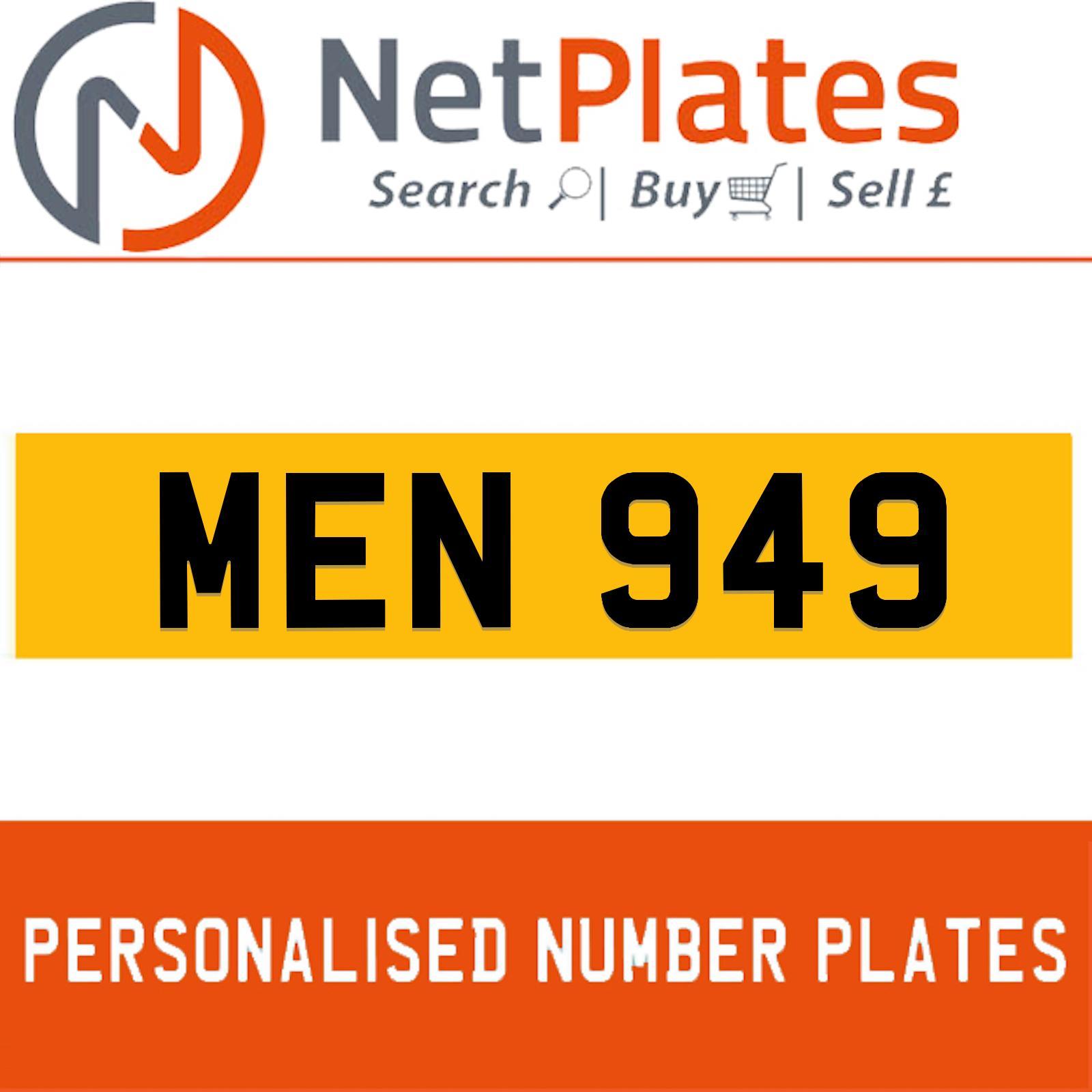 men 949 private plate registration plates cherished reg. Black Bedroom Furniture Sets. Home Design Ideas