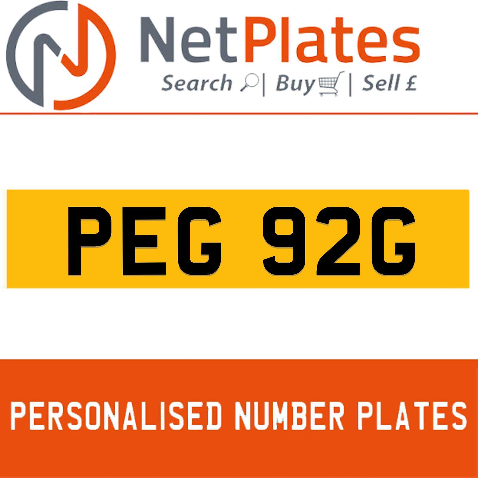 peg 92g private plate registration plates cherished reg. Black Bedroom Furniture Sets. Home Design Ideas